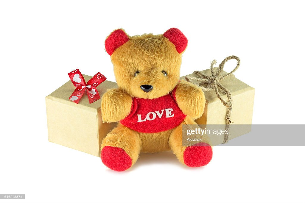 Teddy bear with gift box : Stock Photo