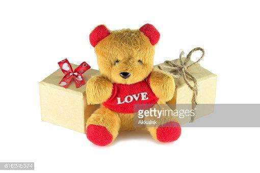 Urso de Pelúcia com caixa de oferta : Foto de stock
