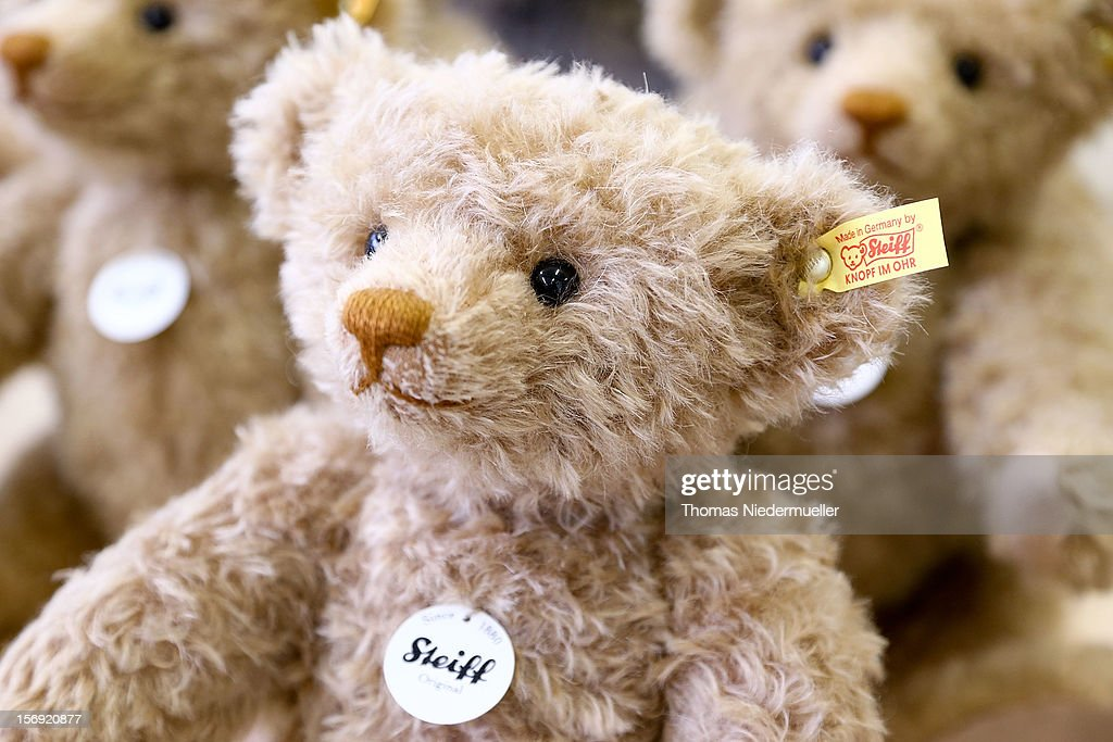 Teddy bears at the Steiff stuffed toy factory on November 23 2012 in Giengen an der Brenz Germany Founded by seamstress Margarethe Steiff in 1880...