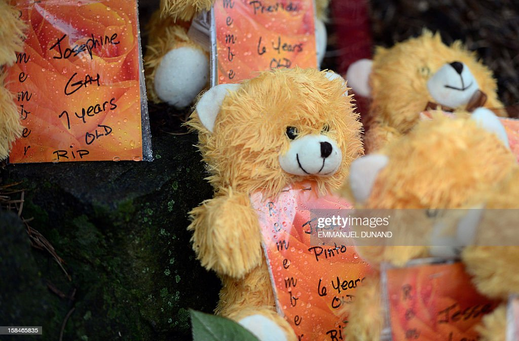 Teddy bears show the names of some of the victims of an elementary school shooting, including Jack Pinto, at a makeshift shrine to the victims of an elementary school shooting in Newtown, Connecticut, December 17, 2012. Funerals began Monday in the little Connecticut town of Newtown after the school massacre that took the lives of 20 small children and six staff, triggering new momentum for a change to America's gun culture. The first burials, held under raw, wet skies, were for two six-year-old boys who were among those shot in Sandy Hook Elementary School. On Tuesday, the first of the girls, also aged six, was due to be laid to rest. There were no Monday classes at all across Newtown, and the blood-soaked elementary school was to remain a closed crime scene indefinitely, authorities said. AFP PHOTO/Emmanuel DUNAND