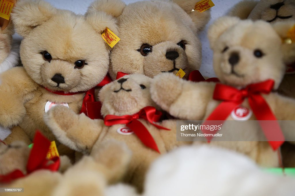 Teddy bears sit on a shelf at the Steiff stuffed toy factory on November 23, 2012 in Giengen an der Brenz, Germany. Founded by seamstress Margarethe Steiff in 1880, Steiff has been making stuffed teddy bears since the early 20th century ever since her nephew Richard Steiff exhibited the first commercially produced teddy bear in Europe in 1903. Teddy bears are among the most popular children's toys and the company is hoping for a strong Christmas season.