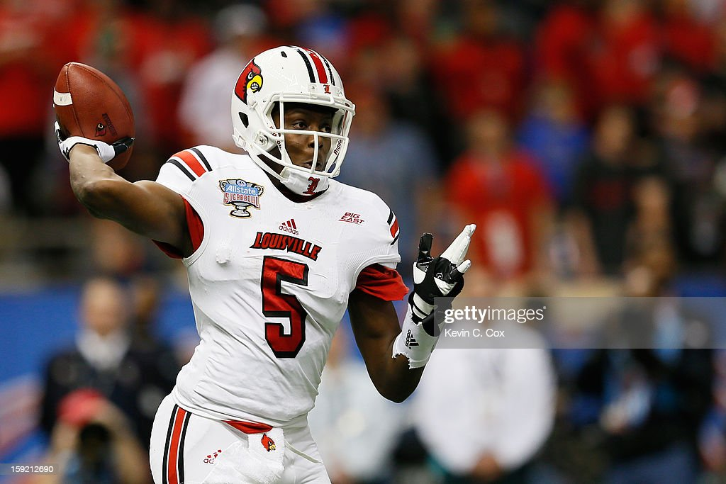 Teddy Bridgewater #5 of the Louisville Cardinals looks to pass against the Florida Gators during the Allstate Sugar Bowl at Mercedes-Benz Superdome on January 2, 2013 in New Orleans, Louisiana.