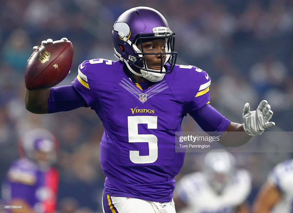 Teddy Bridgewater of the Minnesota Vikings looks for an open receiver in the first quarter against the Dallas Cowboys on August 29 2015 in Arlington...