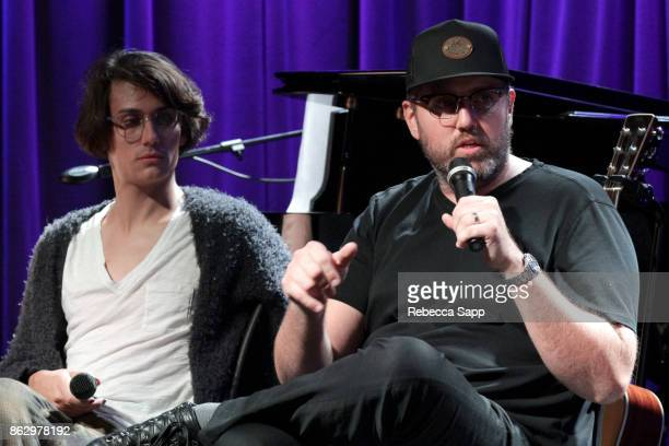 Teddy Geiger and busbee speak onstage at Chart Toppers Songwriters/Producers InTheRound Featuring Busbee Dave Bassett Warren 'Oak' Felder And Teddy...