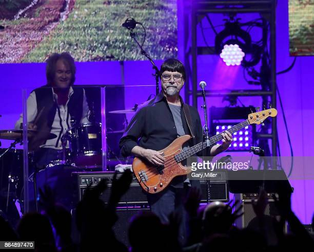 Teddy Gentry of Alabama performs in concert during the 'Deep From The Heart One America Appeal Concert' at Reed Arena on October 21 2017 in College...