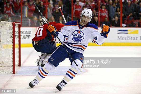 Teddy Purcell of the Edmonton Oilers celebrates after scoring the gamewinning goal in a shootout against the Washington Capitals at Verizon Center on...