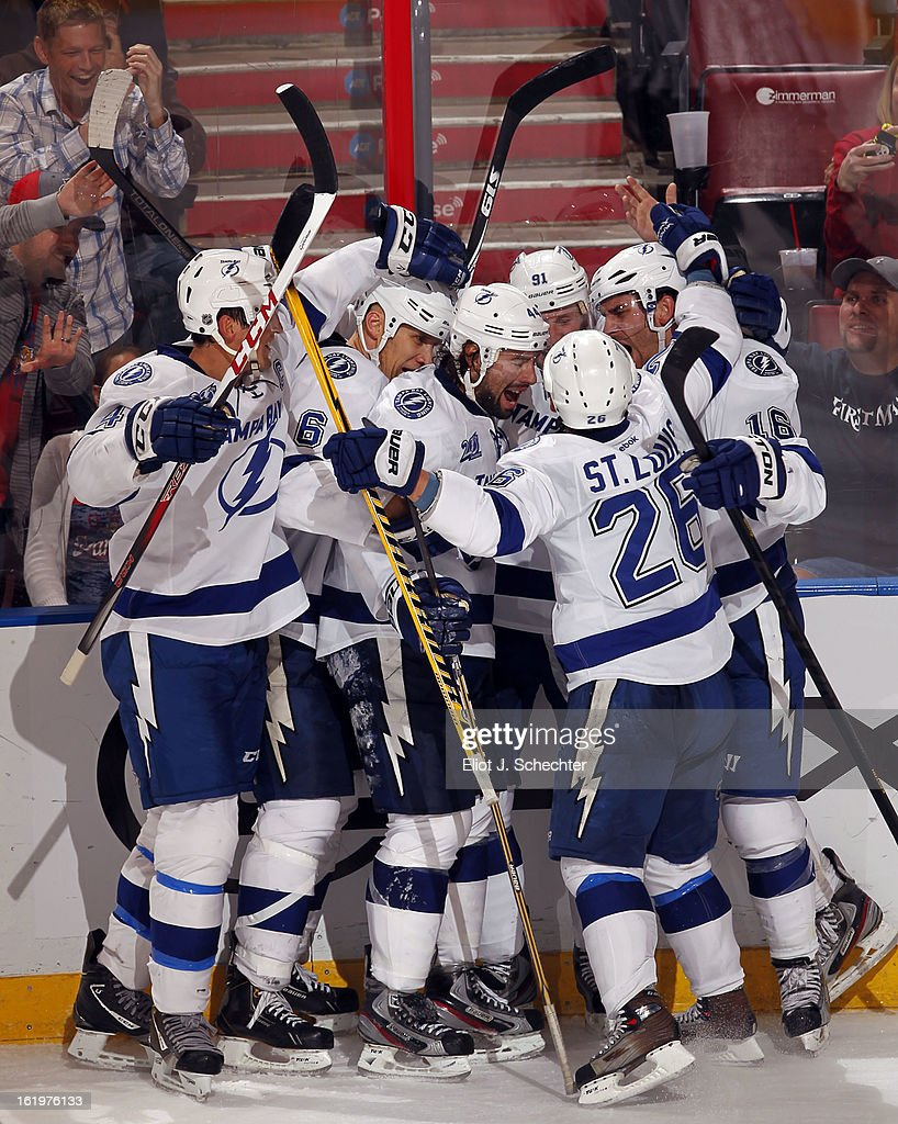 Teddy Purcell #16 of the Tampa Bay Lightning celebrates his goal with teammates against the Florida Panthers at the BB&T Center on February 16, 2013 in Sunrise, Florida.