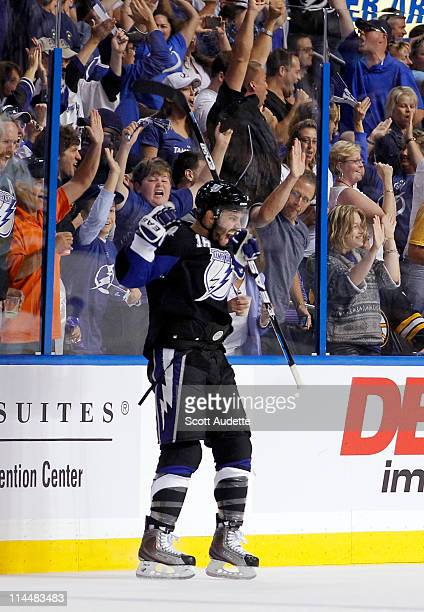 Teddy Purcell of the Tampa Bay Lightning celebrates his second goal of the game against the Boston Bruins in Game Four of the Eastern Conference...