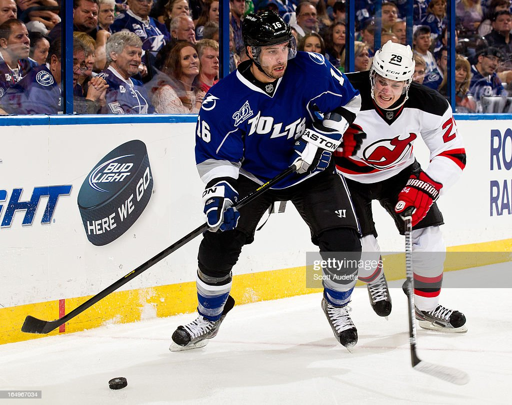<a gi-track='captionPersonalityLinkClicked' href=/galleries/search?phrase=Teddy+Purcell&family=editorial&specificpeople=4537302 ng-click='$event.stopPropagation()'>Teddy Purcell</a> #16 of the Tampa Bay Lightning controls the puck during the third period of the game against the New Jersey Devils at the Tampa Bay Times Forum on March 29, 2013 in Tampa, Florida. The second period wrapped up with a tie game, 2-2.