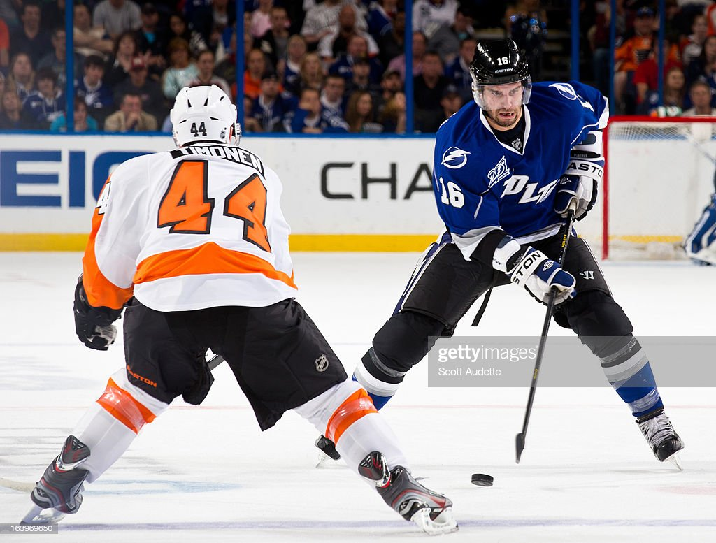 <a gi-track='captionPersonalityLinkClicked' href=/galleries/search?phrase=Teddy+Purcell&family=editorial&specificpeople=4537302 ng-click='$event.stopPropagation()'>Teddy Purcell</a> #16 of the Tampa Bay Lightning moves the puck around <a gi-track='captionPersonalityLinkClicked' href=/galleries/search?phrase=Kimmo+Timonen&family=editorial&specificpeople=201521 ng-click='$event.stopPropagation()'>Kimmo Timonen</a> #44 of the Philadelphia Flyers during the third period of the game at the Tampa Bay Times Forum on March 18, 2013 in Tampa, Florida.