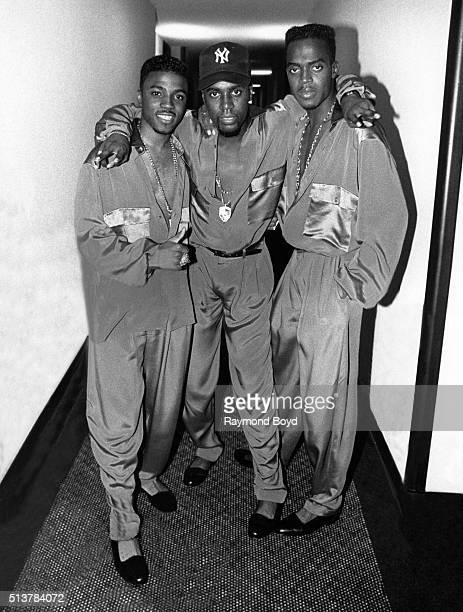 Teddy Riley Aaron Hall and Damion Hall from Guy poses for photos backstage after their performance at the Arie Crown Theater in Chicago Illinois in...