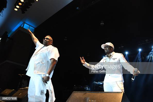 Teddy Riley and Dave Hollister of Blackstreet performs in concert at Wolf Creek Amphitheater on August 27 2016 in Atlanta Georgia