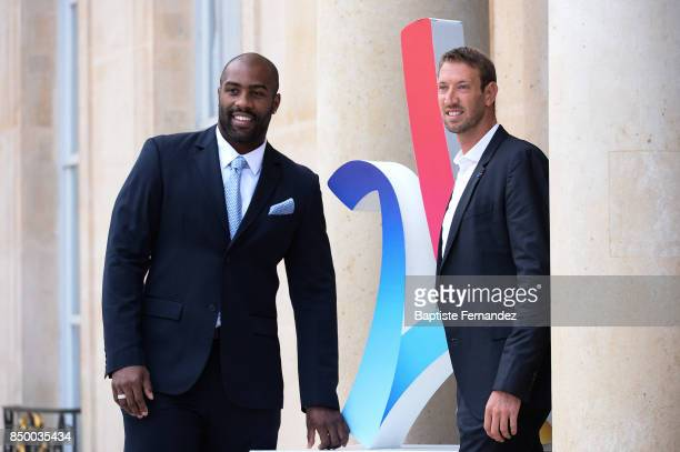Teddy Riner and Alain Bernard during the reception of the CIO by the French President at Elysee Palais on September 15 2017 in Paris France