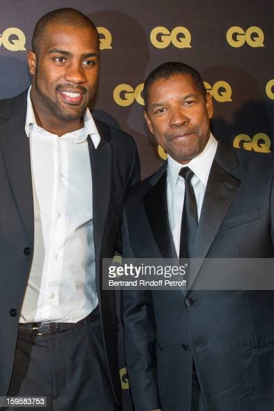 Teddy Riner and Denzel Washington attend the GQ Men of the year awards 2012 at Musee d'Orsay on January 16 2013 in Paris France