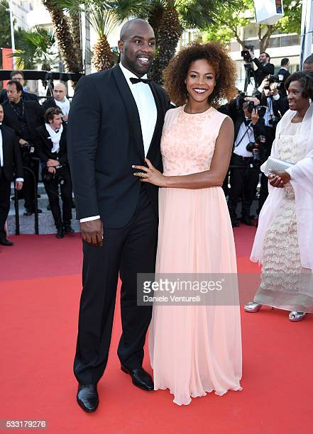 Teddy Riner and his partner Luthna attend the 'Elle' Premiere during the 69th annual Cannes Film Festival at the Palais des Festivals on May 21 2016...