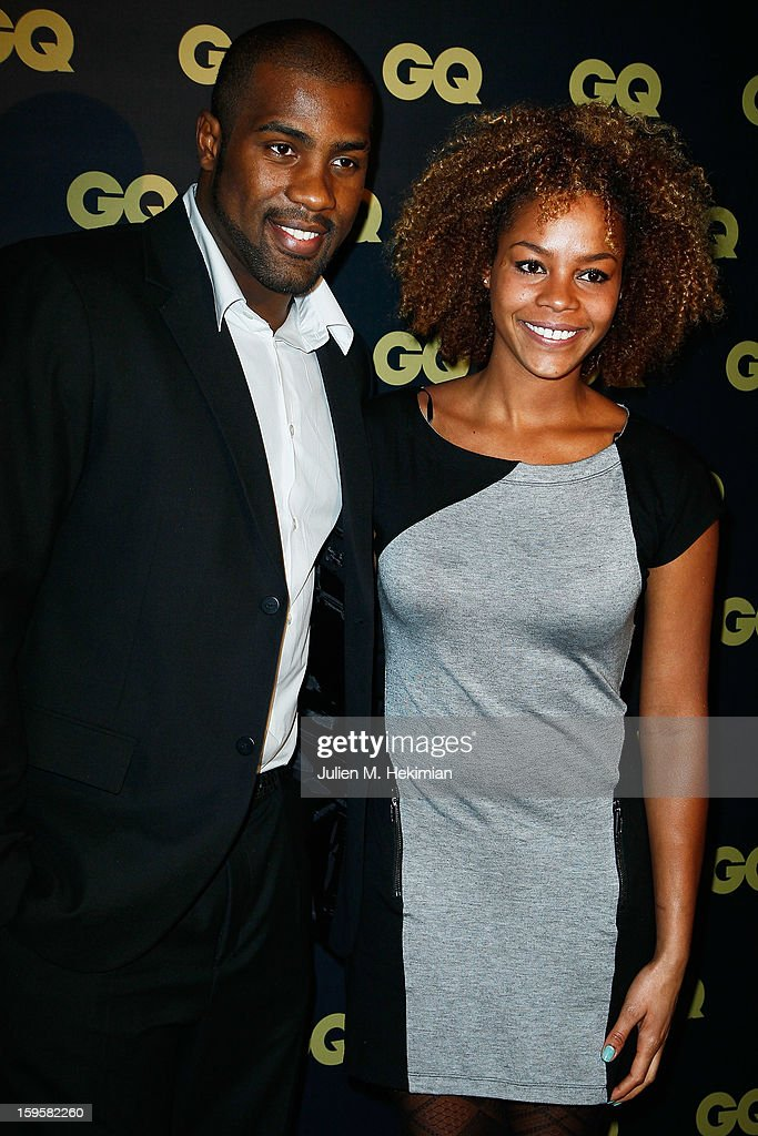 Teddy Riner and his wife attend GQ Men of the year awards 2012 at Musee d'Orsay on January 16, 2013 in Paris, France.