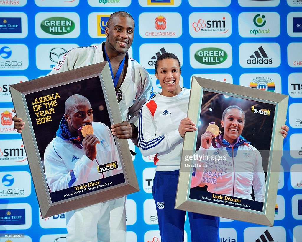 <a gi-track='captionPersonalityLinkClicked' href=/galleries/search?phrase=Teddy+Riner&family=editorial&specificpeople=4114927 ng-click='$event.stopPropagation()'>Teddy Riner</a> and Lucy Decosse each received the 'Judoka of the Year' award during the Paris Grand Slam on day 2, Sunday, February 10, 2013 at the Palais Omnisports de Paris, Bercy, Paris, France.