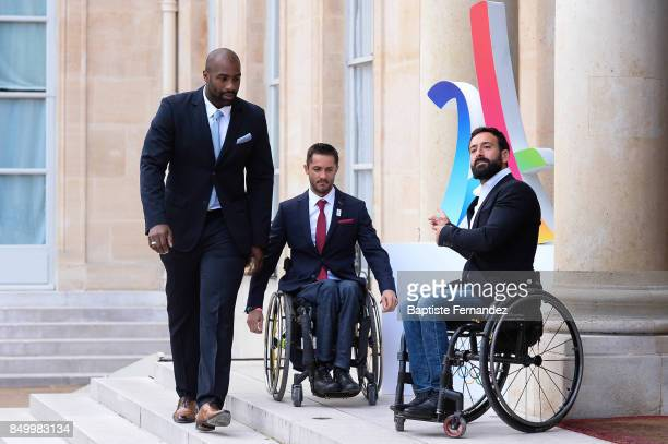 Teddy Riner and Michael Jeremiasz during the reception of the CIO by the French President at Elysee Palais on September 15 2017 in Paris France