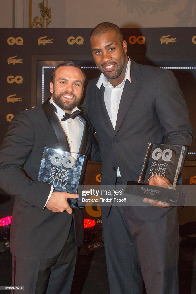 Teddy Riner (R) and Sami Ameziane aka Comte de Bouderbala, attend the GQ Men of the year awards 2012 at Musee d'Orsay on January 16, 2013 in Paris, France.
