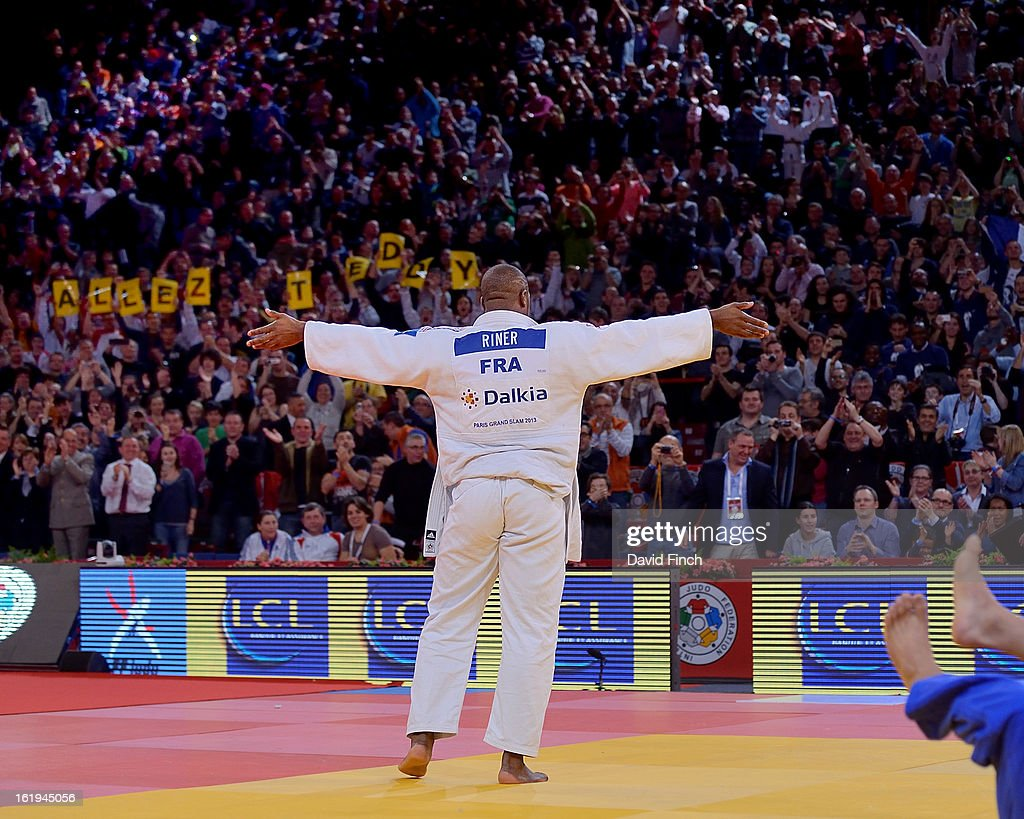 Teddy Riner of France acknowledges the enthusiasm of the audience after winning his sixth Paris title with the best throw of the tournament during the Paris Grand Slam on day 2, Sunday, February 10, 2013 at the Palais Omnisports de Paris, Bercy, Paris, France.