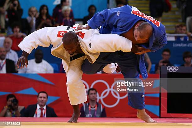 Teddy Riner of France and Faicel Jaballah of Tunisia compete in the Men's 100 kg Judo on Day 7 of the London 2012 Olympic Games at ExCeL on August 3...