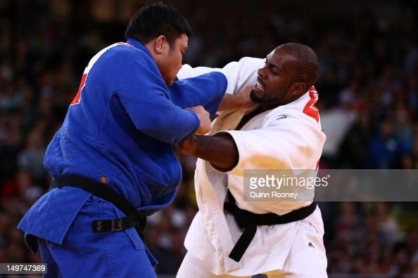 Teddy Riner of France and SungMin Kim of Korea compete in the Men's 100 kg Judo on Day 7 of the London 2012 Olympic Games at ExCeL on August 3 2012...