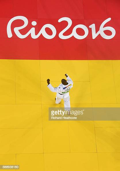 Teddy Riner of France celebrates after defeating Hisayoshi Harasawa of Japan during the Men's 100kg Judo Gold Medal contest on Day 7 of the Rio 2016...