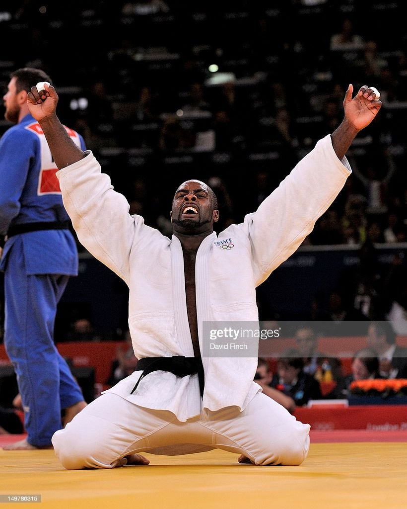 Teddy Riner of France celebrates defeating Alexander Mikhaylin of Russia in the Men's +100 kg Judo on Day 7 of the London 2012 Olympic Games at ExCeL on August 3, 2012 in London, England.
