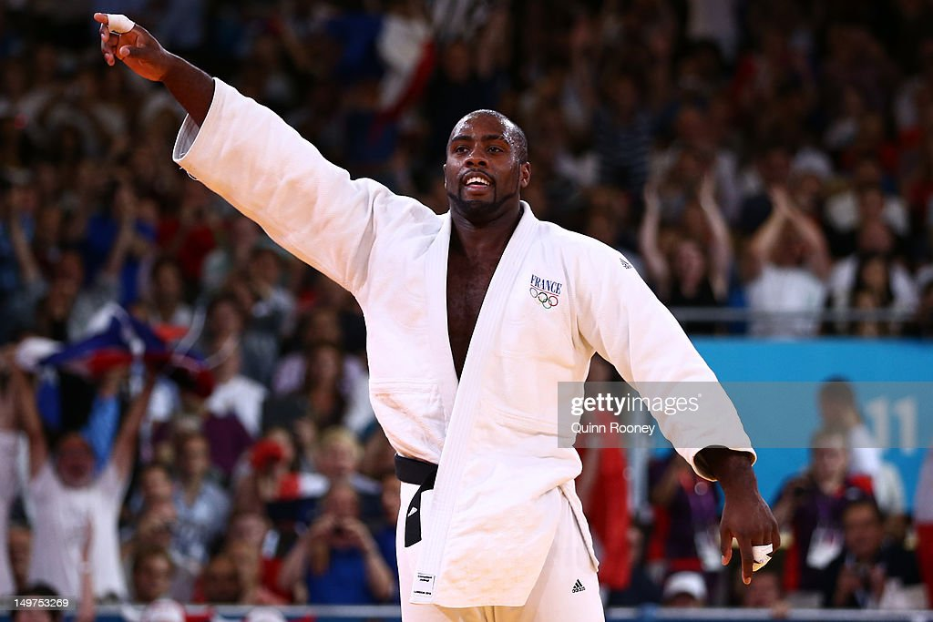 <a gi-track='captionPersonalityLinkClicked' href=/galleries/search?phrase=Teddy+Riner&family=editorial&specificpeople=4114927 ng-click='$event.stopPropagation()'>Teddy Riner</a> of France celebrates his gold medal in the Men's +100 kg Judo on Day 7 of the London 2012 Olympic Games at ExCeL on August 3, 2012 in London, England.