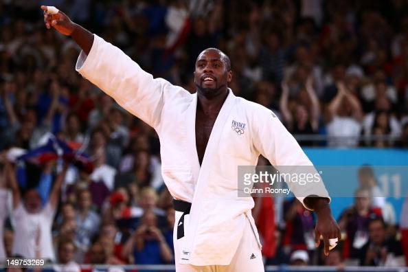 Teddy Riner of France celebrates his gold medal in the Men's 100 kg Judo on Day 7 of the London 2012 Olympic Games at ExCeL on August 3 2012 in...