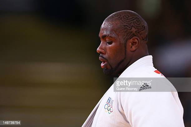 Teddy Riner of France during his match with Faicel Jaballah of Tunisia in he Men's 100 kg Judo on Day 7 of the London 2012 Olympic Games at ExCeL on...