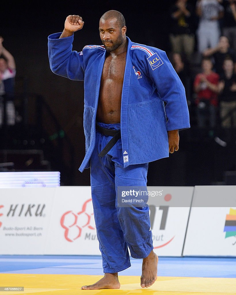 <a gi-track='captionPersonalityLinkClicked' href=/galleries/search?phrase=Teddy+Riner&family=editorial&specificpeople=4114927 ng-click='$event.stopPropagation()'>Teddy Riner</a> of France signals his success after winning the +100kg final during the Montpellier European Judo Championships at the Park&Suites Arena on Saturday, April 2014 in Perols, Montpellier, France.