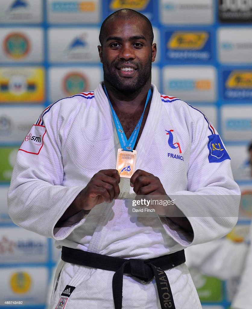 <a gi-track='captionPersonalityLinkClicked' href=/galleries/search?phrase=Teddy+Riner&family=editorial&specificpeople=4114927 ng-click='$event.stopPropagation()'>Teddy Riner</a> of France, who has become an extraordinary legend at just 26, celebrates winning his eighth World title during the 2015 Astana World Judo Championships (24-30 August) on day 6 at the Alau Ice Palace, on August 29, 2015 in Astana, Kazakhstan.