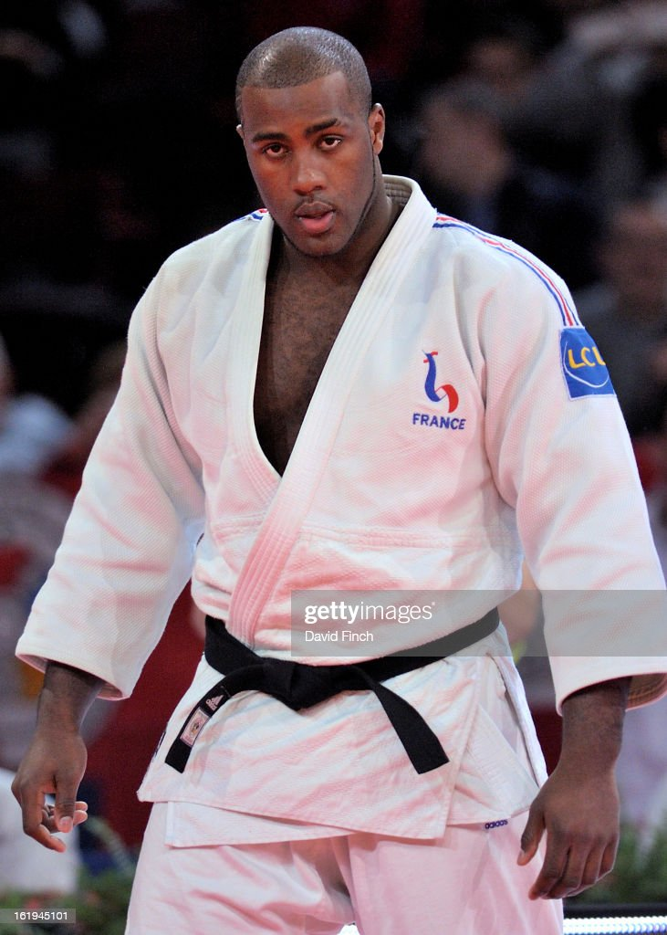 Teddy Riner prepares to enter the mat area for the +78kgs semi-final on his way to his sixth consecutive Paris gold medal during the Paris Grand Slam on day 2, Sunday, February 10, 2013 at the Palais Omnisports de Paris, Bercy, Paris, France. (Photo by David Finch/Getty Images) Teddy Riner