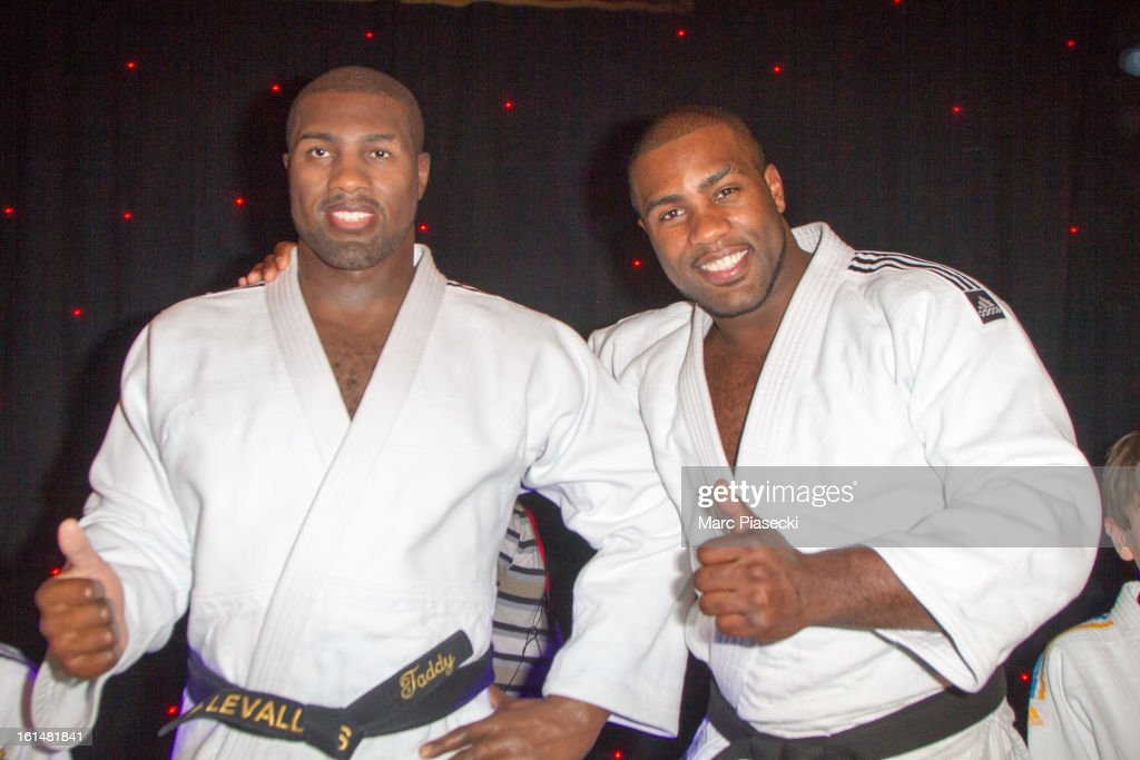 Teddy Riner unveils his waxwork at Musee Grevin on February 11, 2013 in Paris, France.
