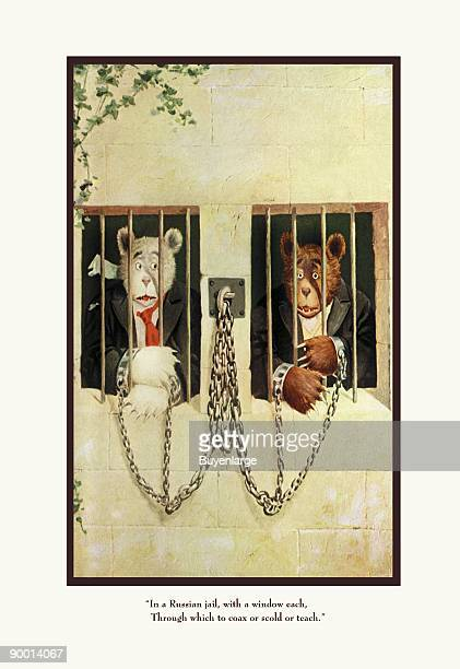 Teddy Roosevelt's Bears Teddy B and Teddy G in a Russian Jail