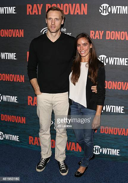 Teddy Sears and Melissa Sears attend the Season 2 Premiere Of Showtime's 'Ray Donovan' at Nobu Malibu on July 9 2014 in Malibu California