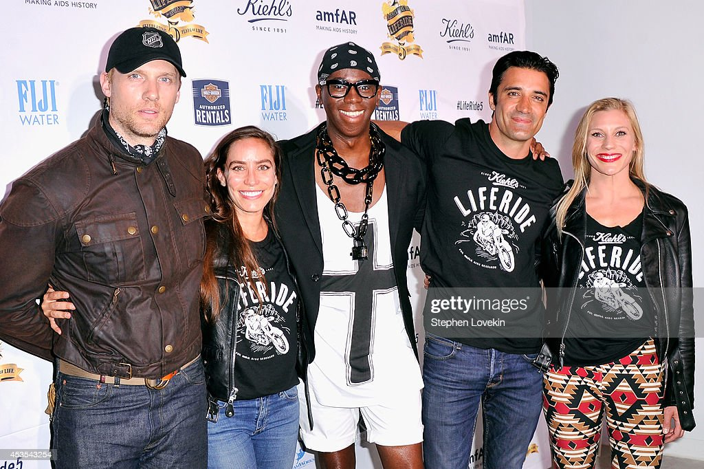 Teddy Sears, Milissa Sears, Miss J. Alexander, Gilles Marini and Katee Sackhoff attend Kiehl's LifeRide for amfAR co-hosted by FIJI Water on August 12, 2014 in New York City.
