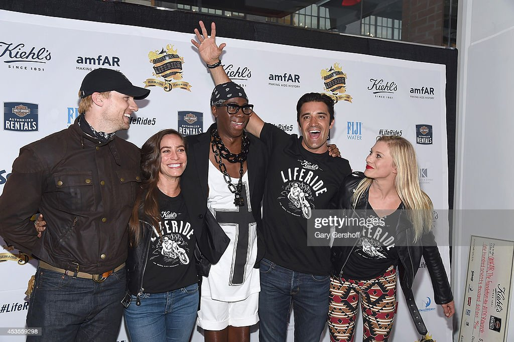 Teddy Sears, Milissa Sears, Miss J. Alexander, Gilles Marini and Katee Sackhoff attend the 5th Annual Kiehl's LifeRide for amfAR Finale Celebration on August 12, 2014 in New York City.
