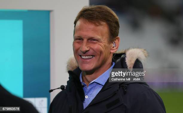 Teddy Sheringham during the Premier League match between West Ham United and Tottenham Hotspur at London Stadium on May 5 2017 in Stratford England