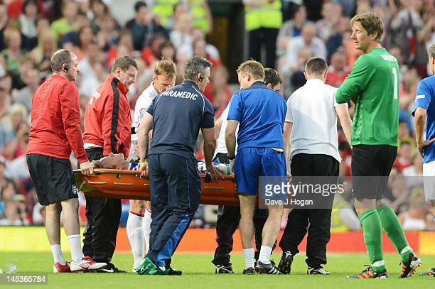 Teddy Sheringham injures Gordon Ramsay at Soccer Aid 2012 in aid of Unicef at Old Trafford on May 27 2012 in Manchester England