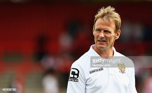Teddy Sheringham manager of Stevenage looks on ahed of the preseason friendly match between Stevenage and Tottenham XI at the Lamax Stadium on August...