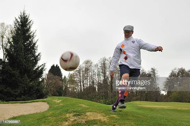 Teddy Sheringham shoots during the Golffoot Masters in Lausanne on April 16 2012 in Lausanne Switzerland Practised on a golf course golffoot players...