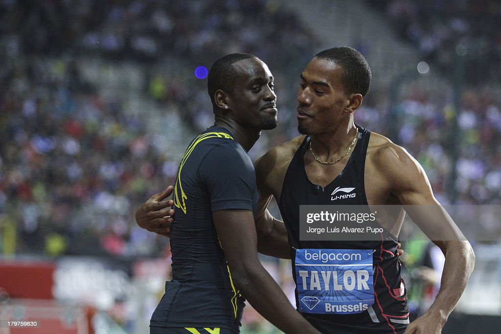 Teddy Tambgo (FRA) and Angelo Taylor (USA) celebrates after the Men's Triple Jump final, during the 2013 Belgacom Memorial Van Damme -IAAF Diamond League on September 6, 2013 in Brussels, Belgium.