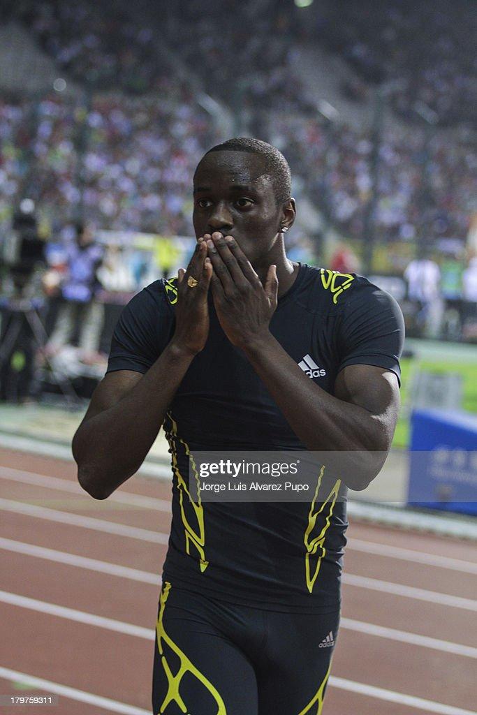Teddy Tambgo of France celebrates his victory after the Men's Triple Jump final during the 2013 Belgacom Memorial Van Damme -IAAF Diamond League on September 6, 2013 in Brussels, Belgium.