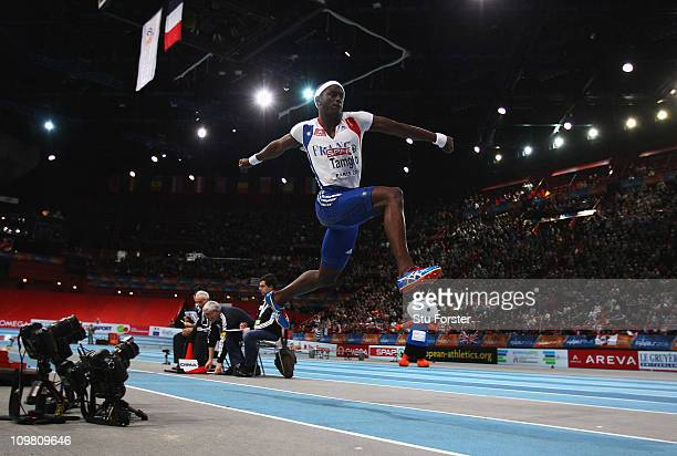 Teddy Tamgho of France competes on the way to winning the gold medal in the Men's Triple Jump during day 3 of the 31st European Athletics Indoor...