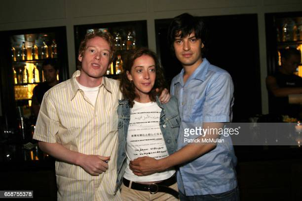 Teddy Thompson Jane Adams and Michael Cavadias attend Paper Magazine August Cover Star Vincent Gallo at New York's Thompson Hotel on July 12 2002 in...