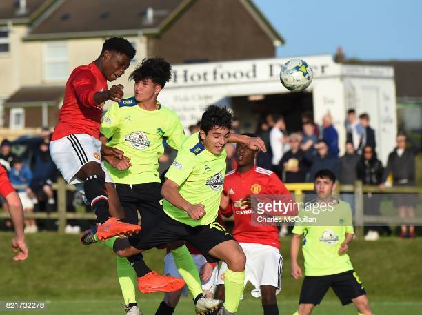 Teden Mengi of Manchester United heads wide during the NI Super Cup junior section game between Manchester United and Colina at Seahaven on July 24...