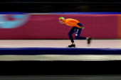 TedJan Bloemen of Netherlands competes in the Mens Division A 5000m on day one of the Essent ISU World Cup Speed Skating at Thialf Ice Stadium on...