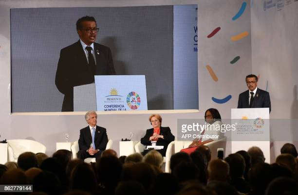 Tedros Adhanom Ghebreyesus WHO DirectorGeneral addresses the Global Conference on Noncommunicable diseases at Mercosur headquarters in Montevideo on...